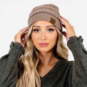 CC Keep Me Cozy Taupe Knit Beanie